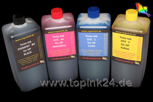 Refill kit foto ink InkTec® pigment UV & DYE for HP Designjet with HP 10/82/82/82